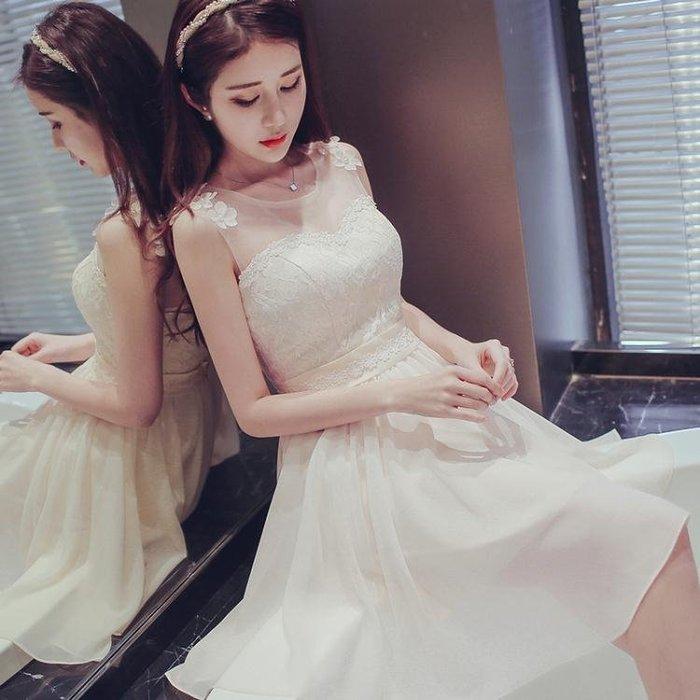 伴娘服短款2018春季新款伴娘團禮服姐妹裙香檳色畢業小禮服連身裙