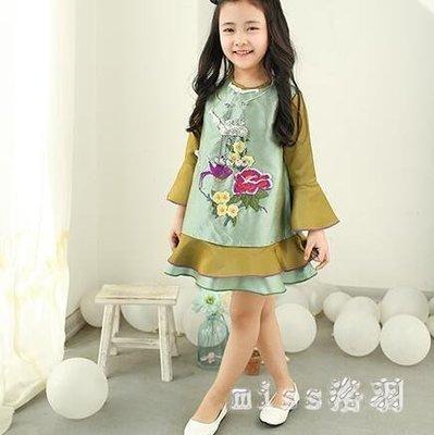 中大尺碼女童旗袍洋裝中國風荷葉邊唐裝新款中式喇叭袖裙子 js10750