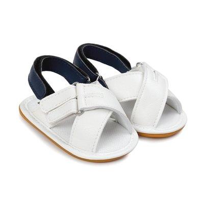 寶貝倉庫~時尚白色露趾膠底涼鞋~學步鞋...