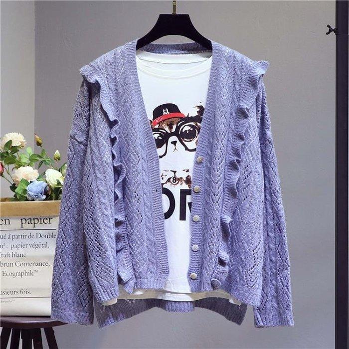 針織衫學院風開襟女毛衣鏤空薄款寬鬆外套潮