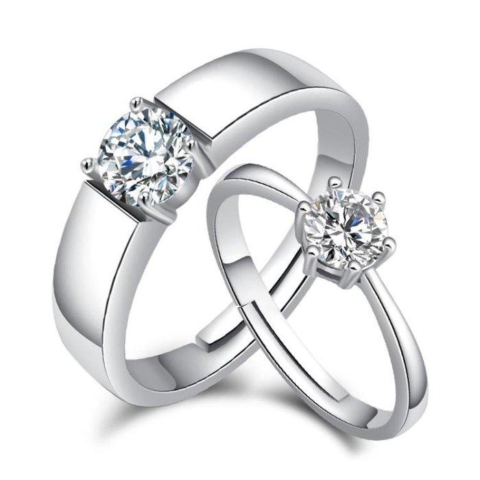 純銀情侶戒指一對刻字男女學生開口對戒S925日韓簡約仿真結婚戒指