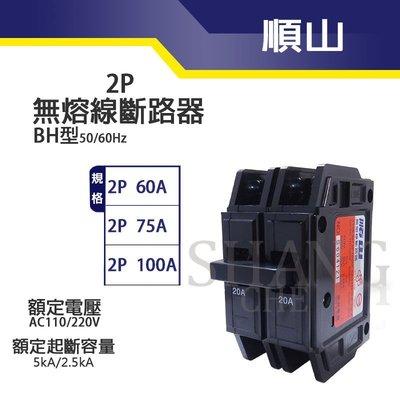 【尚成百貨】順山 BH型 2P 60A 無熔線斷路器  無熔絲開關 另售 75A 100A 另有東元 台芝 國際 士林