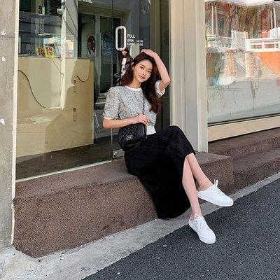 正韓 小香 洋裝 百褶裙 百折裙 短袖 連身裙 長裙 長洋裝 金蔥 毛呢 編織 光澤 小香風 氣質 顯瘦 韓國