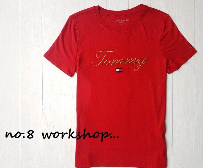 T☆【女生館】☆【TOMMY HILFIGER金線刺繡短袖T恤】☆【TOMG002L4】寬鬆版(XXS-XS-S-M)原價1399