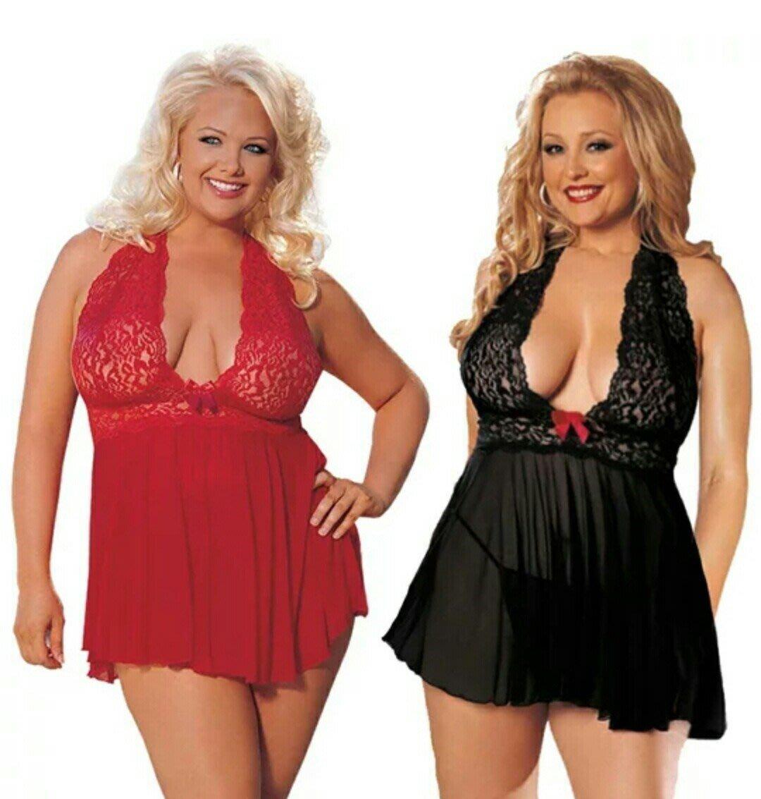 M50 兩色3XL~6XL歐美加大碼低胸蕾絲睡衣 加大碼性感蕾絲拼接睡衣套裝 加大睡衣側開衫 低胸情趣內衣 熱銷歐美