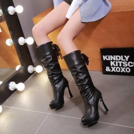 【星居客】精美女鞋大小碼女鞋  秋冬新款韓版女靴33小碼蕾絲系帶高筒靴40-43大碼騎士靴S932