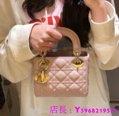 艾琳 二手正品 Dior  經典 粉色/黑色 黛妃包 羊皮革 三格 鏈條 手提包 側背包/肩背包 兩用包 現貨