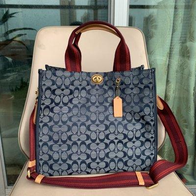 美國名品折扣店~ 特賣 COACH 3664 新款女士Chambray藍色牛仔帆布托特包 大號 手提包 斜挎包