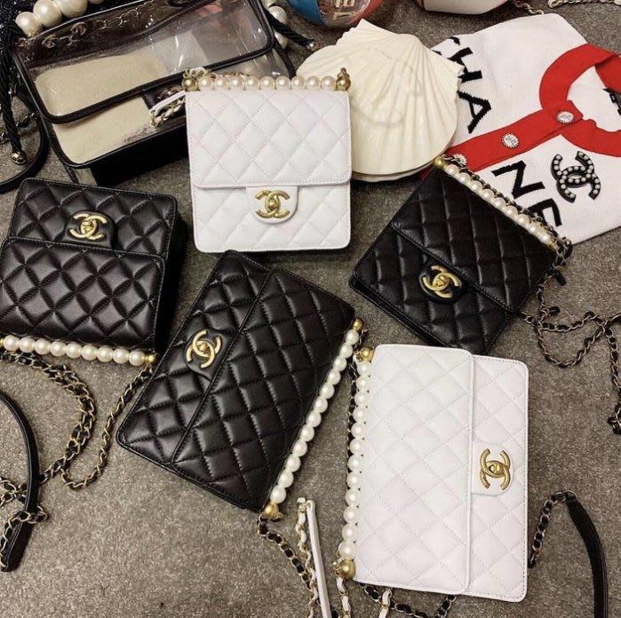 Chanel AS0584 幻象珍珠系列Quilted Flap Bag 小牛皮珍珠鍊帶包 黑
