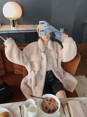 'OVERCOAT'簡潔中透著溫柔干練~編織全羊毛皮草馬甲/長袖外套