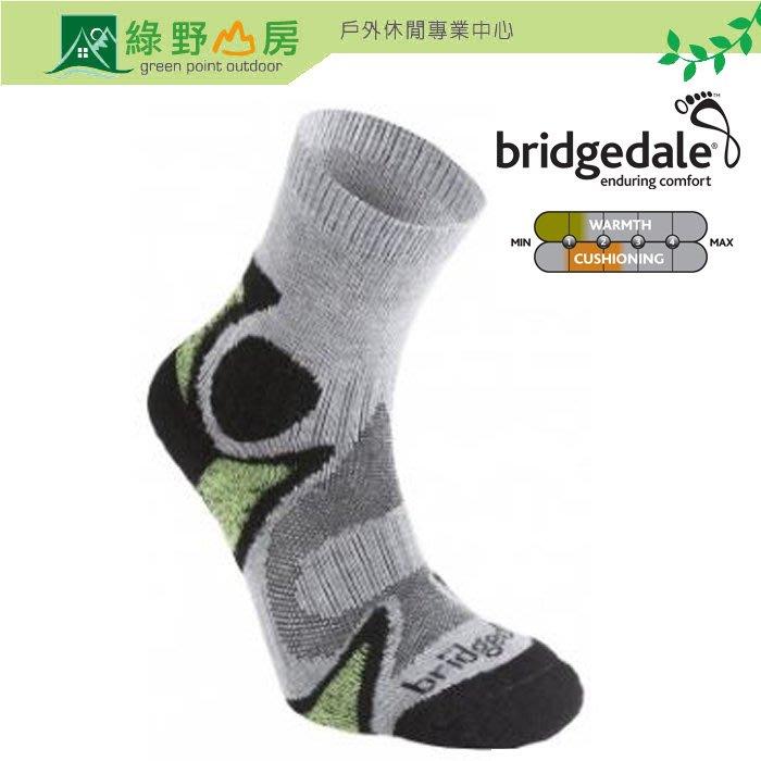 綠野山房》Bridgedale 英國 男 CoolFusion雙圈避震襪 中筒 單車襪 慢跑襪 黑/綠 180-843