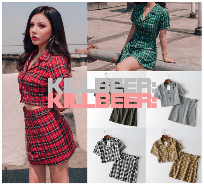 KillBeer:妞兒請妳別太帥之 歐美復古搖滾龐克風mods撞色格紋短版襯衫/性感高腰扣環包臀短裙 套裝A080213