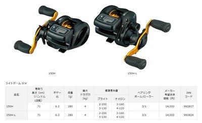 【NINA釣具】DAIWA  筏釣 鼓式  LIGHTGAME ICV 兩軸捲線器 (左手/右手)