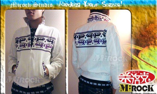 MIROCK米洛克》超值特賣↘日本街牌SAVOY獨特個性紫色圖騰白色翻立領外套|輕薄保暖材質|全防風內裡|隱藏式拉鍊