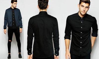 ◎美國代買◎ASOS無口袋合腰身顯廋經典百搭帥氣黑色純棉牛仔襯衫~歐美街風~大尺碼
