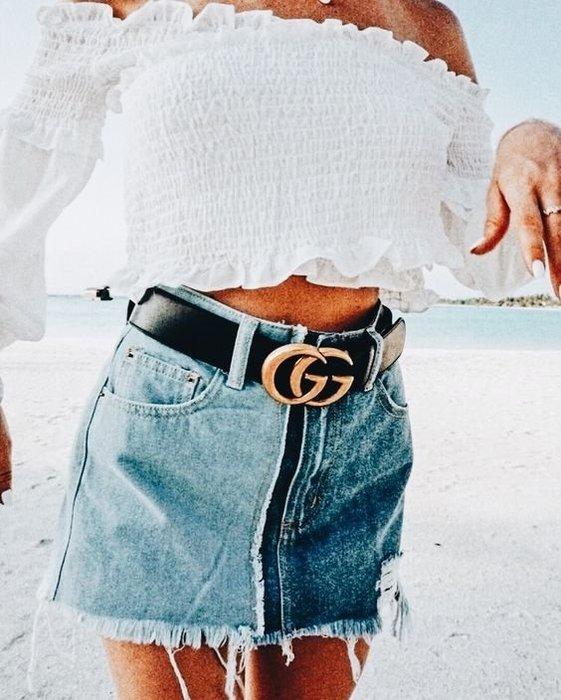 【代購】經典 Gucci GG LOGO 寬版 皮帶 腰帶 4公分