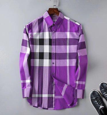 Men's衣帽間 26/8 80J5 XDT0024 簡約百搭 BUR 戰馬標 格紋 長袖襯衣 多色選 有大碼