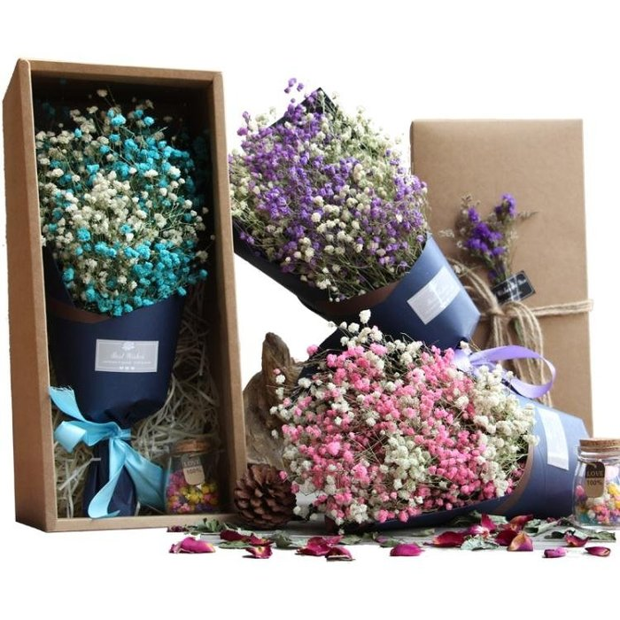 送女友大束滿天星干花花束禮盒永生花情人生日禮物