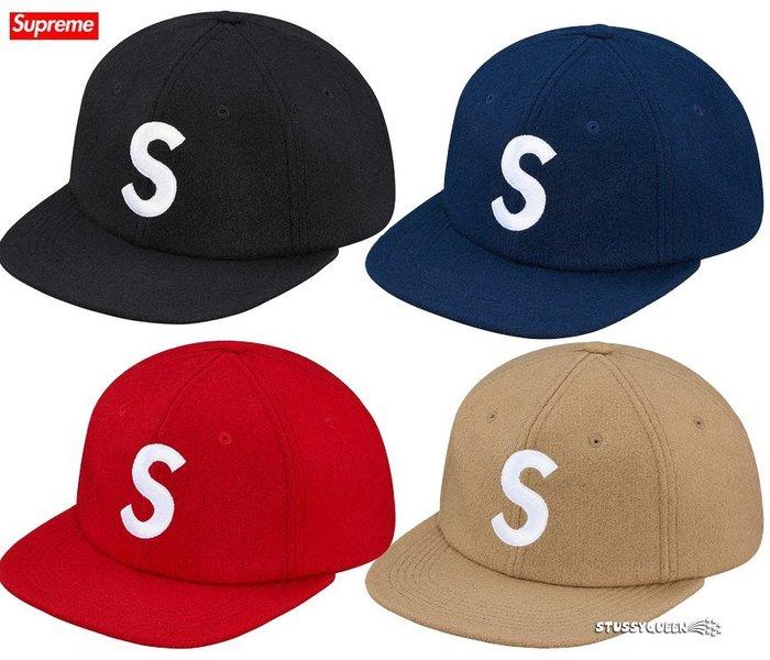 【超搶手】全新正品2015 秋冬Supreme Wool S Logo 6 Panel 羊毛 6分帽 黑色 天藍 紅 棕