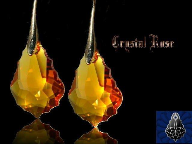 ※水晶玫瑰※ SWAROVSKI 大巴洛克葉水晶吊墜 鍍金耳勾式耳環(DD042)~9色可選