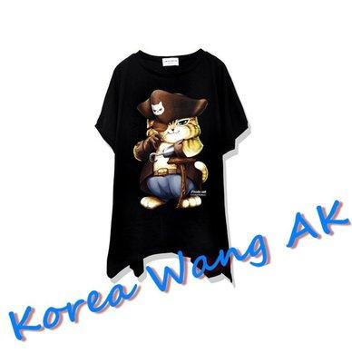 Korea Wang AK ~(預購)台灣原創獨家設計 美國100%純棉 限定版 神鬼傳奇海賊貓寬袖T 三款【P001】