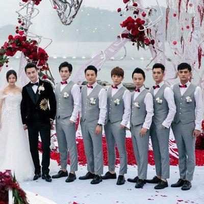 婚禮伴郎服 灰色結婚禮服西裝三件套 —莎芭