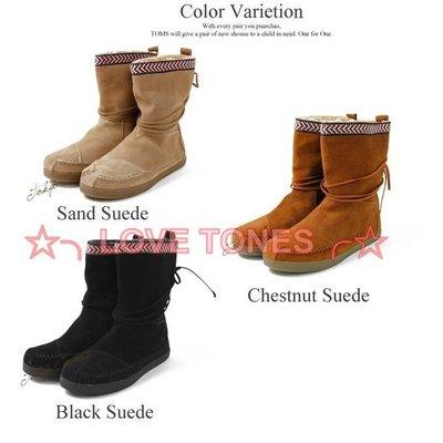 ☆╮LOVE TONES╭☆美國正品TOMS鞋『免運』Suede Trim Boots【刺繡民族風系列 雪靴】秋冬預購款