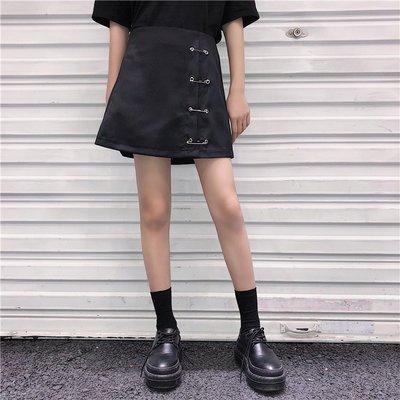 2018新款韓版ulzzang別針裝飾百搭開衩顯瘦A字半身裙 短裙學生女