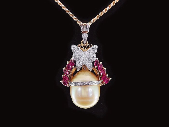 天然南洋黃金珠【17*13.5mm】 天然美鑽蝴蝶造型