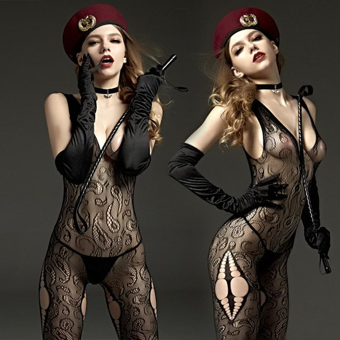 MIX style SHOP【S-783】Rimes 情趣內衣❤黑色吊帶背心鏤空性感開襠網格連身網衣襪