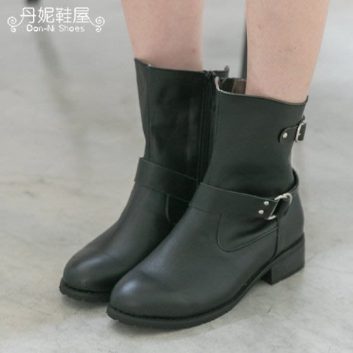 中靴 貴氣奢華質感雙扣環低跟機車靴 馬靴 MIT台灣手工鞋 丹妮鞋屋