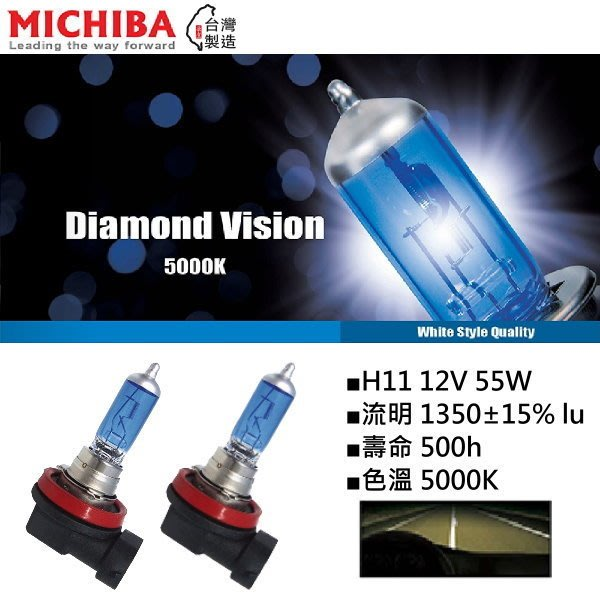 和霆車部品中和館—台灣MICHIBA 色溫5000K 規格H11 12V 55W 超白光鹵素燈泡(1組2顆入)