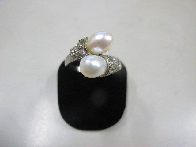 二手舖 NO.3992 天然珍珠 鑲鑽造型戒指 首飾飾品 全新