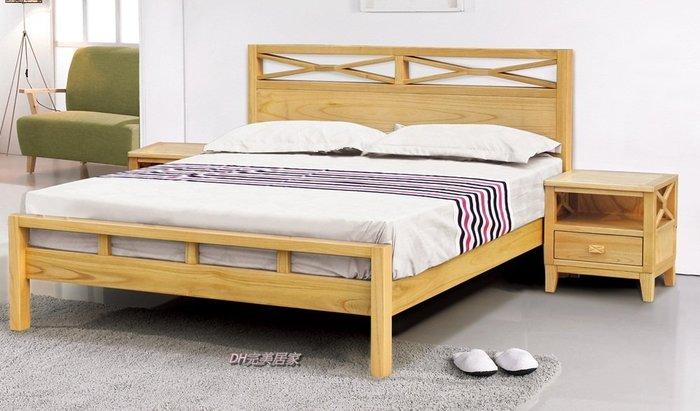 【DH】商品貨號N563-3品名稱《威里》5尺雙人北歐本色全實木床架/另胡桃色。備有六尺。主要地區免運費