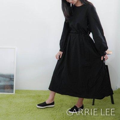 【XX現貨】優雅修身素面圓領連身裙洋裝 黑【08.20】Carrie Lee INN-JR0022