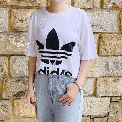 【Luxury】Adidas 短版上衣 寬鬆上衣 簍空 大LOGO 白 桃紅 女款 女生上衣 純棉 韓國代購 正品