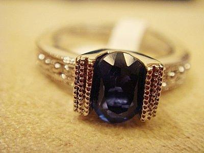 賣家珍藏,全新極品藍剛戒指,白 K 檯,低價起標無底價!本商品免運費!