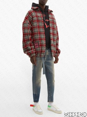 【WEEKEND】 OFF WHITE Plaid Checked 格紋 外套 夾克 紅色 19秋冬