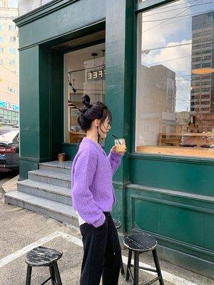 紫色毛衣女寬松外穿外套法式慵懶針織衫秋季2020年新款復古小開衫