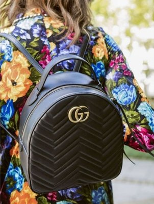 Gucci 476671 GG Marmont quilted leather backpack 後背包 黑