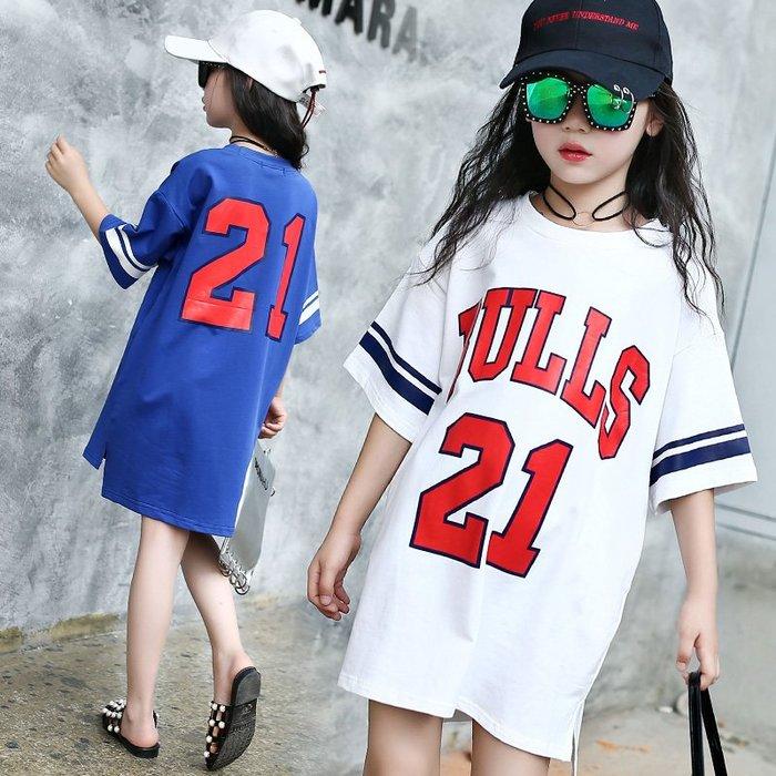 ☆女孩衣著☆女童短袖T恤2018夏裝新款童裝兒童運動上衣大童中長款棒球T恤衫(NO37)