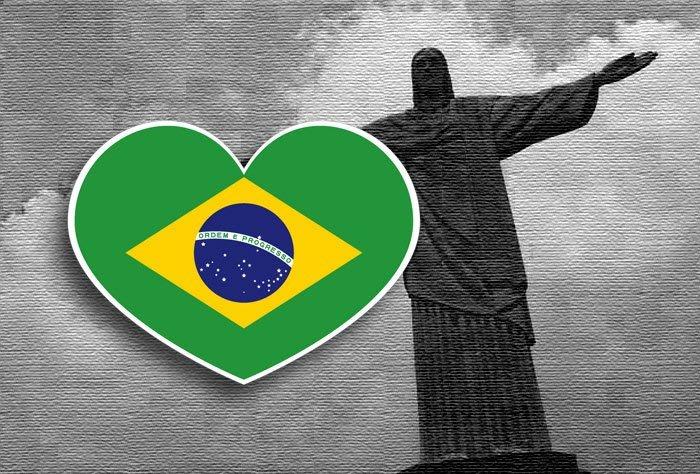【國旗貼紙專賣店】巴西愛心形旅行箱貼紙/抗UV防水/Brazil/多國款可收集和客製