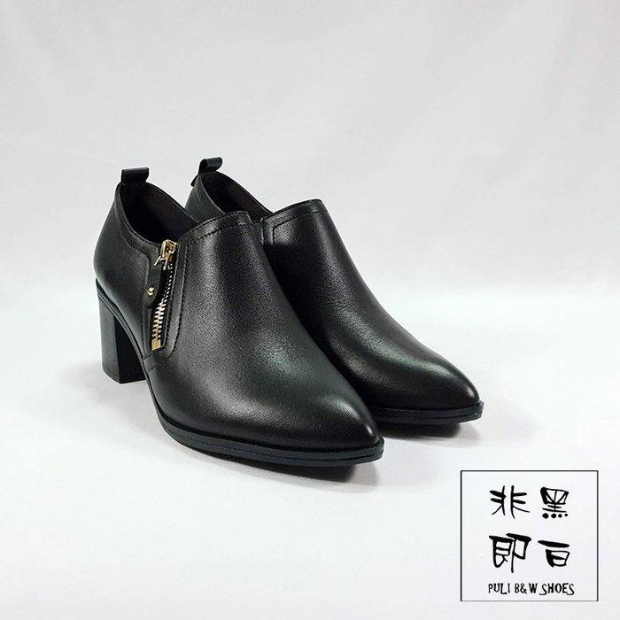 【非黑即白】MIT專櫃簡約百搭俐落粗跟側邊拉鍊真皮踝靴 短靴 跟鞋 黑色 327901