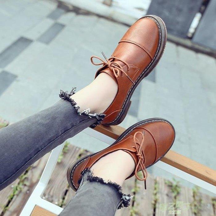 交換禮物 潮小皮鞋女新品春季學生正韓百搭原宿英倫單鞋平底厚底女鞋