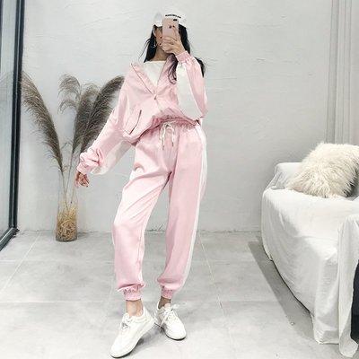 外套+休閑褲時尚兩件套bf學生小清新春裝2018新款女 時髦套裝潮