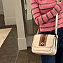 箐箐美國代購 COACH 89139 新款女士Rambler大號翻蓋包 條紋拼色單肩斜挎包 附購證
