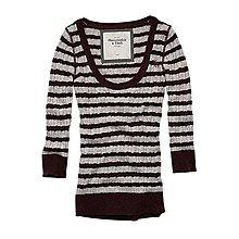 美國Abercrombie & Fitch女裝 AF women Madeline M號酒紅粉美性感條紋針織毛衣含運現貨