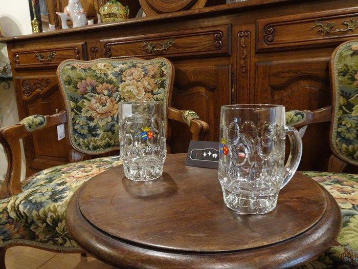 【卡卡頌 歐洲跳蚤市場/歐洲古董】歐洲老件_德國 LOGO 厚實質感 雕刻玻璃杯 啤酒杯 馬克杯 酒杯 g0054