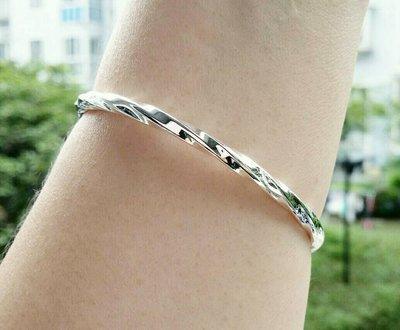 嗨,寶貝銀飾珠寶* 925純銀☆999純銀 時尚 造型 個性 扭轉造形實心開口純銀手環 手鐲