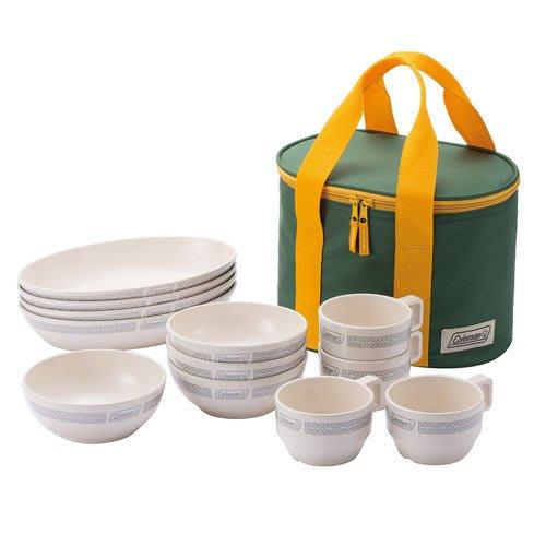 【山野賣客】Coleman CM-26765 晶格餐盤組/白 餐具組 碗 盤子 杯子